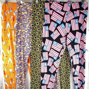 LuLaRoe 4 Pair TC Tall Curvy Leggings Bundle Lot